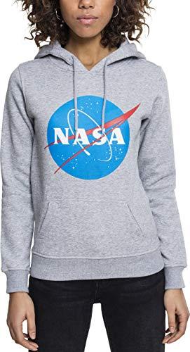 Mister Tee Ladies NASA Insignia Hoodie - Damen Streetwear Kapuzenpullover, Heather Grey, Größe M