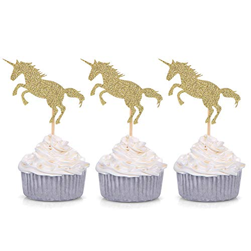 Giuffi 24 CT Golden Glitter Unicorn Cupcake Toppers Party Decors