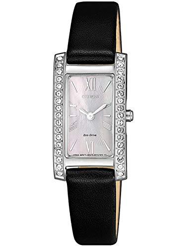 CITIZEN Damen Analog Rechteckig Eco-Drive Uhr mit Leder Armband Schwarz Perlmuttzifferblatt EX1471-16D