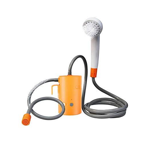 Fácil de usar: para la bomba sumergible integrada (caudal de 3/4 litro / min), solo se necesita una fuente de agua (barril o tanque de cuello ancho) para comenzar a ducharse. Con el cable de carga de 3.7V incluido, puede cargar la ducha de campamento...