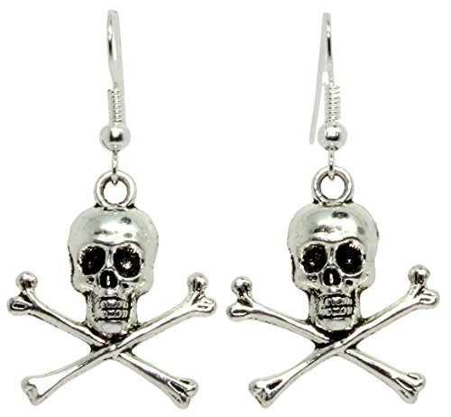 Bluebubble TRICK OR TREAT Silver Skull and Crossbones Dangle Earrings Gift Boxed