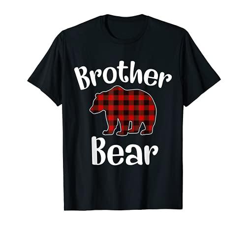 Red Plaid Bear Christmas Pajama Brother Matching Family T-Shirt