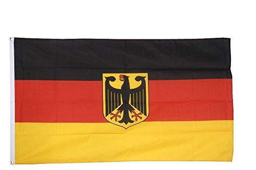 Flaggenfritze® Flagge Deutschland mit Adler, deutsche Flagge hissfertig mit Ösen + gratis Sticker 60 x 90 cm