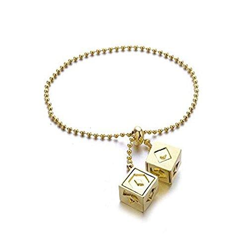 Han Solo Lucky Dice - Colgante de oro para disfraz de cosplay con diseño de dados de la suerte y cadena de eslabones para elegir