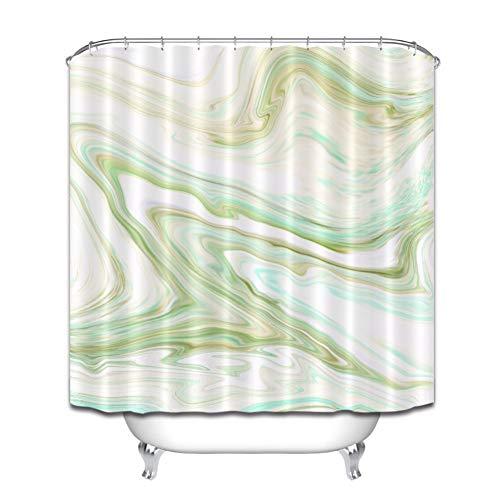 AYogg Duschvorhang Cyan Marmor Textur natürliches Badezimmer wasserdichter Stoff Duschvorhang Polyester