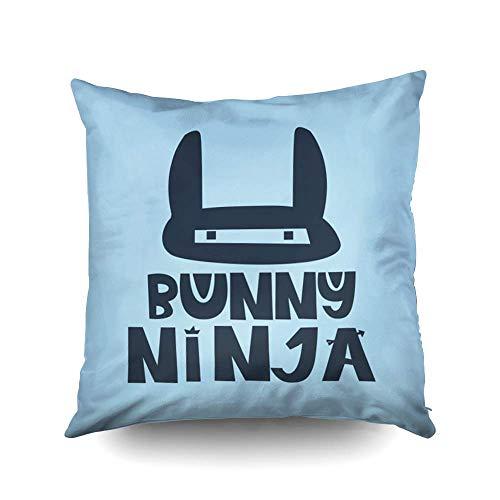 WH-CLA Throw Pillow Covers Holiday Bunny Ninja Hand Drawn Style Tipografía Póster Saludo Inspirador D Impresión Artística O Multi Rojo Impresión A Doble Cara Personalizada Cremallera SUA