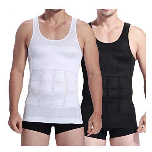 para Hombre Cuerpo de Adelgazamiento Shaper para Hombre Chaleco Camisa ABS Abdomen shaperware - Blanco -