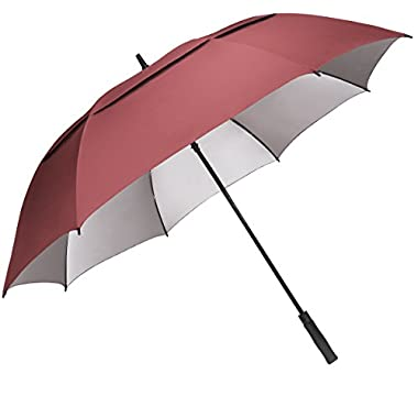 G4Free 68 inch Oversize Windproof Automatic Open Golf umbrella Double Canopy Vented Waterproof Large UV Sun Protection Stick Umbrellas Gifts for men women(Wine Red)