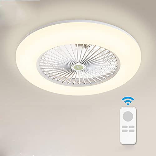 Moderno Ventilador de Techo con Luz Regulable Silencioso LED Lampara Ventilador Techo con Mando a Distancia Ventilador ce Techo Velocidad Del Viento Ajustable Decorativa Luces para Cuarto Sala Oficina