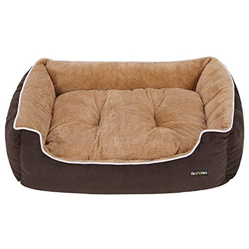 FEANDREA Luxus Hundebett, weiches Hundekorb, L, mit abnehmbarem Kissen, 90 x 25 x 75 cm, braun und beige PGW06YC