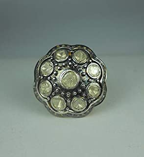 Mughal Style Armour Rose Cut Diamond Uncut Diamond Polki Sterling Silver Filigree Royal Ring Statement Ring