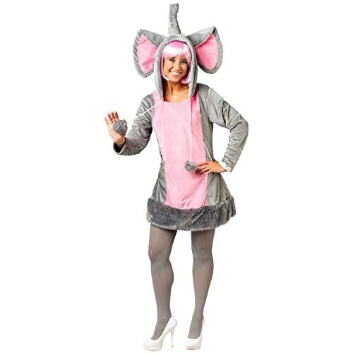 NET TOYS Tierno Disfraz de Elefante Disfraz para Mujer - Gris-Rosa ES 36/38 (XS/S) - Encantador Vestido de Dama Dumbo - Incomparable para Noches temticas y carnavales al Aire Libre