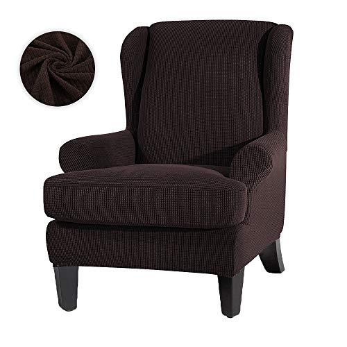 JTWEB Ohrensessel Bezug Ohrensessel Schonbezug Jacquard Elastische Sesselbezug Sessel-Überwürfe Sesselhusse Elastisch Stretch Husse für Ohrensessel (Tiefer Kaffee)