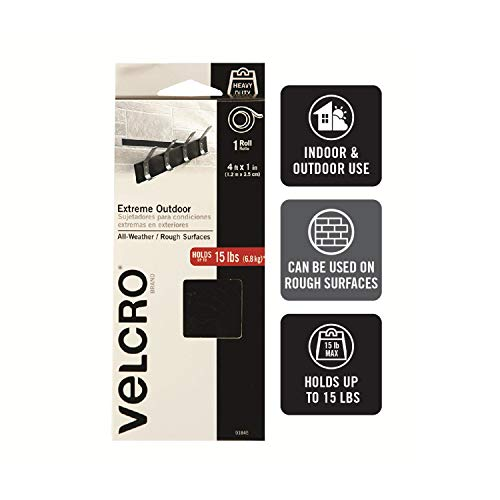 VELCRO Brand Extreme Outdoor Heavy Duty Tape | 4Ft x 1 In | Holds 15 lbs | Black Industrial Strength Adhesive Backed Hook and Loop Fasteners Roll | Strong Weather Resistant (91845) Photo #2