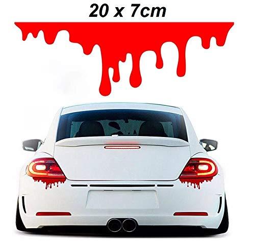 INION - 2X Tattoo Sticker Aufkleber Dekoration Blut Tropfen Blutspuren Blutspritzer für Auto Rückleuchten Scheinwerfer Motorrad Roller sarachen (20cm x 7cm)