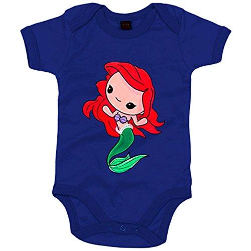 Body bebé Chibi Kawaii Ariel Sirenita parodia - Azul Royal, 12-18 meses