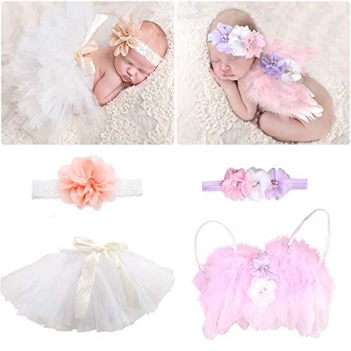 4 PCS Newborn Photography Props Outfits-BabyTutu Skirt Cute Bow Headdress and Angel Wings Flower Pearl Headband Costume for Infants Girl Boy(Angel Wing+Tutu Shirt)