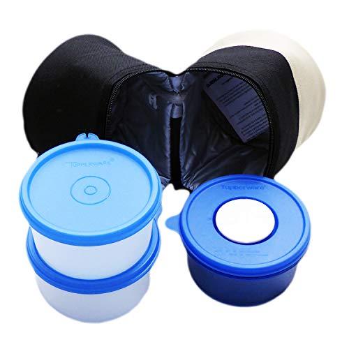 Tupperware CrystalPlus - Set di 3 ciotole da 400 ml, con borsa termica (1) per microonde e congelatore
