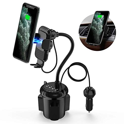 Wireless Car Charger, Sopownic 3-in-1 Car Cup Holder Phone Mount with 4 USB Ports Auto Clamping 10W Fast Qi Charging Cell Phone Cup Holder Compatible for iPhone Samsung and More