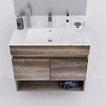 Foto di MarinelliGroup Mobile Bagno 80 cm sospeso con lavabo in Ceramica e Specchio con Ante Rovere Erika