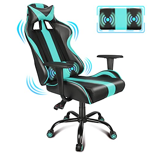 Miami Blue Gaming Chair Racing Style Cool PC Computer Chairs for Adults Teens Kids, Ergonomic Office Chair Massage Lumbar Pillow and Headrest, Adjustable Height and Breathable PU Leather E Sport Chair