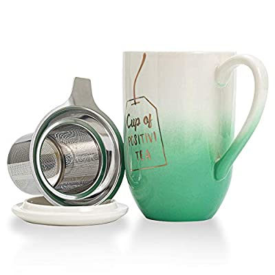 Hawoo Ceramic Tea Mug with Infuser and Lid, 18 Oz Large Tea Cup, Loose Leaf Tea Infuser Cup W/Steeper for Home, Office, Gift (Green)