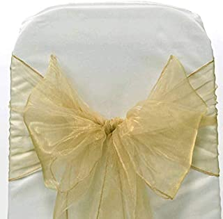 mds Pack of 50 Organza Chair sash Bow Sashes for Wedding and Events Supplies Party Decoration Chair Cover sash -Champagne Gold