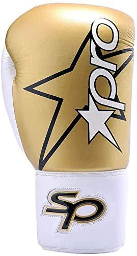Starpro Boxhandschuhe Muay Thai Training - 8oz 10oz 12oz 14oz 16oz | Kickboxen Pro Sparring Professioneller Punchinghandschuhe Mitts Boxsack Boxing Gloves | Kunstleder Gold Weiß für Männer und Frauen