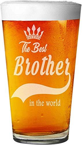 ANVPI De Beste Broer In De Wereld Gegraveerd Bier Pint Glas ~ Verjaardag voor Broeder In Wet Zoon ~ (16 oz.)