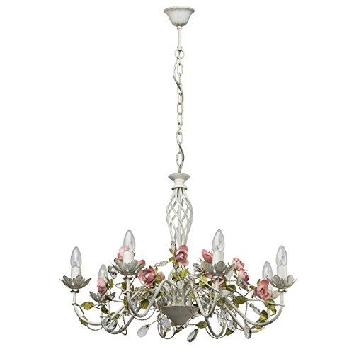 MW-Light 421012508 Florentiner Kerzen Kronleuchter Weiß Metall Grün Keramik Blumen Blätter mit Kristall 8 Flammig E14 x 40W