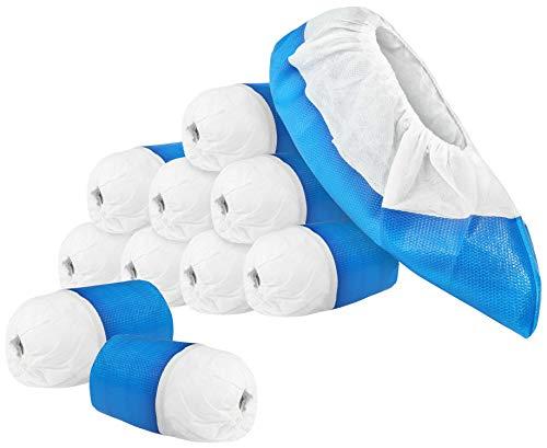 com-four® 100x Premium Mehrweg Überziehschuhe 11,9g je Überzieher - Plastik Schuhüberzieher mit Antirutsch-Sohle - Mehrweg-Schuh extra stark und wasserdicht - Überschuhe in Einheitsgröße