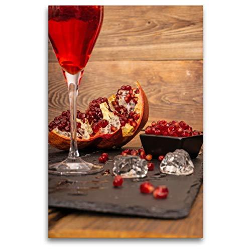 Premium Textil-Leinwand 80 x 120 cm Hoch-Format Granatapfel mit rotem Sekt | Wandbild, HD-Bild auf Keilrahmen, Fertigbild auf hochwertigem Vlies, Leinwanddruck von Fotodesign Siepmann