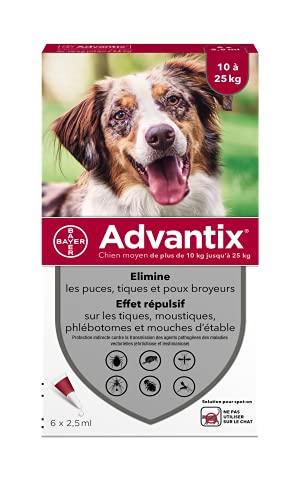 ADVANTIX 6 pipettes antiparasitaires - Pour chien moyen de 10 a 25kg