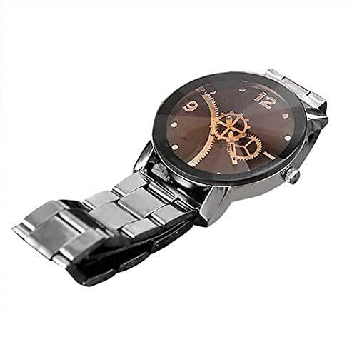 Gran oferta, reloj de pulsera con banda de acero con esfera de brújula de estilo coreano, reloj con puntero de engranaje, reloj de pulsera Vintage, reloj elegante para hombres y mujeres, reloj para am