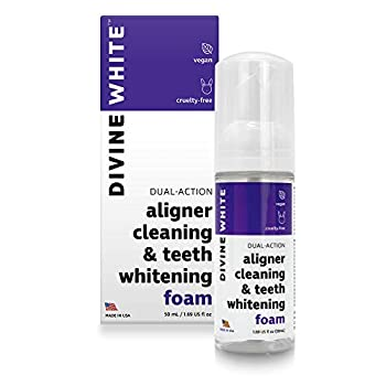 Divine White Dual-Action Stain Removal Aligner/retainer Cleaner and Teeth Whitening Foam- Hydrogen Peroxide-Good for Invisalign ClearCorrect SmileDirectClub Candid Byte -Oral Care-Foam Toothpaste