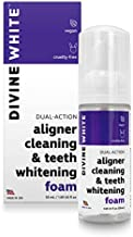Divine White Dual-Action Stain Removal Aligner/retainer Cleaner and Teeth Whitening Foam- Hydrogen Peroxide-Good for Invisalign, ClearCorrect, SmileDirectClub, Candid -Oral Care-Toothpaste Replacement