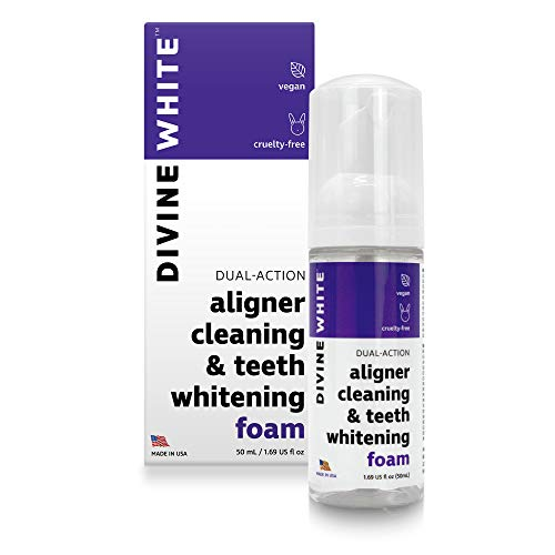 Divine White Dual Action Aligner Cleaning and Teeth Whitening Foam - Hydrogen Peroxide - Good for Invisalign, ClearCorrect, SmileDirectClub, Candid - 50mL (1.69 Fl. Oz.) - Oral Care - Toothpaste Replacement