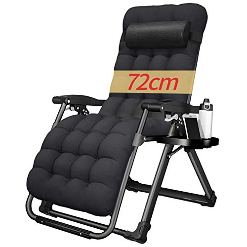 Heavy Duty Zero Gravity Padded Chair - Folding & Reclining Sun Lounger with Cup Holder - for Patio, Conservatory, Garden,Style 2