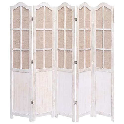 UnfadeMemory Raumteiler Paravent Holzrahmen Vintage-Stil Paulownia-Holz Wohnzimmer Raumtrenner Dekoration Schlafzimmer Sichtschutz Trennwand (175 x 165 cm; 5-teilig, Weiß)
