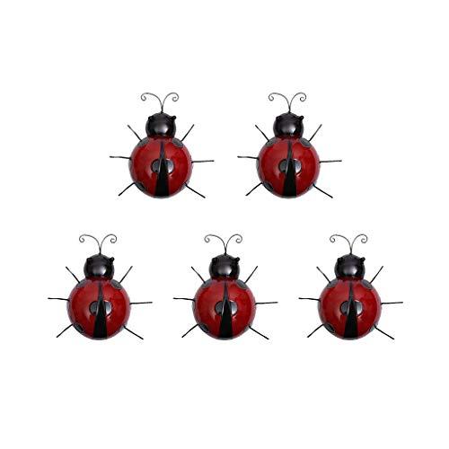 5 Stück Käfer Gartenfigur Wandhaken aus Eisen für Gartenlampe Befestigung oder Garten Zaun Deko