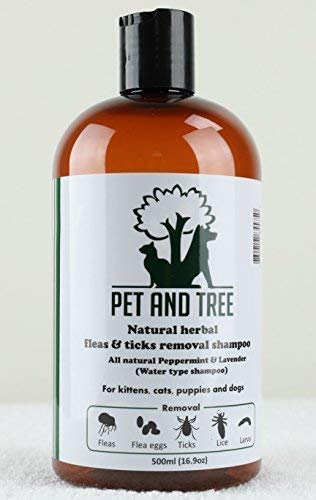 Natural Herbal Fleas and Ticks removal shampoo (Peppermint + Lavender) for dogs and cats/ Soothing bug bite and nutritious for skin and coats.