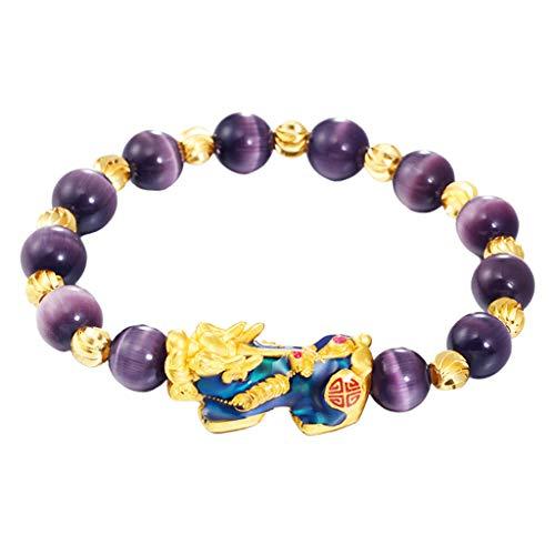 F Fityle Chino Feng Shui Obsidiana Pixiu Pi Yao Pulsera Riqueza Buena Suerte Regalo De Joyería - Púrpura, Un tamaño