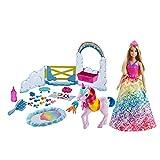 Barbie Dreamtopía Muñeca con unicornio y accesorios para peinar y de juguete (Mattel GTG01)