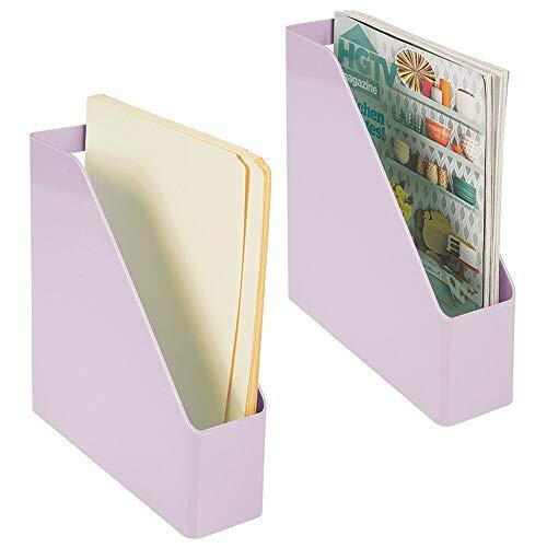 mDesign Juego de 2 clasificadores para revistas, Documentos o Cartas – Revistero archivador de plástico con asa – Sistema Organizador de Documentos Vertical para Oficina – Lila