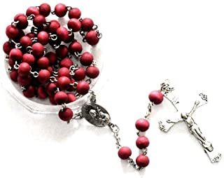 Vatican Holy Pray Rosary Roses Petal Odor Beads Silver Plated In Plastic Round Box