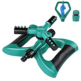 Amlion Arroseur de pelouse, arroseur de jardin, automatique rotatif à 360 degrés avec percussion, système d'irrigation…