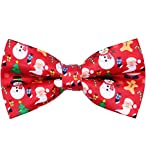 OCIA Holiday Halloween Christmas Pre-Tied Bow Tie Festival Pattern Bowtie for Mens & Boys (Christmas-Red)