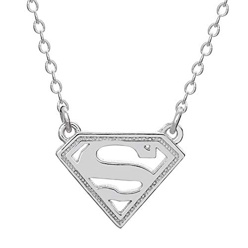 """DC Comics Offically Licensed Jewelry for Women and Girls Superman Superhero Logo Sterling Silver Pendant Necklace, 18""""Chain"""