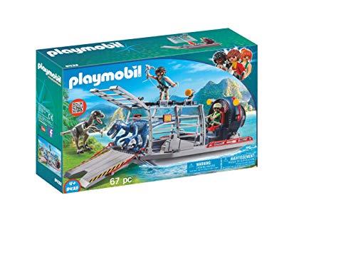 PLAYMOBIL Dinos 9433 Propellerboot mit Dinokäfig, Schwimmfähig, Ab 4 Jahren