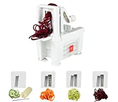 """Easily and quickly slice and spiralize large quantities of fruits & vegetables instead of using a knife. Includes: 1 x Vegetable spiralizer / slicer plus 4 blades: 1 x Straight blade (1/8"""") for ribbons and accordion cuts, 3 x Julienne blades (1/8"""", 1..."""